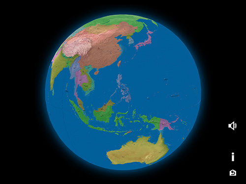 3D earth Asia, Australia and Oceania