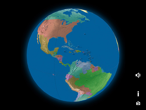 3D atlas, North America and South America